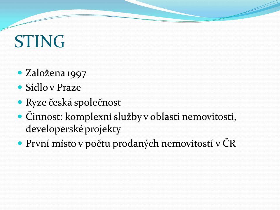 STING Založena 1997 Sídlo v Praze Ryze česká společnost Činnost: komplexní služby v oblasti nemovitostí, developerské projekty První místo v počtu pro