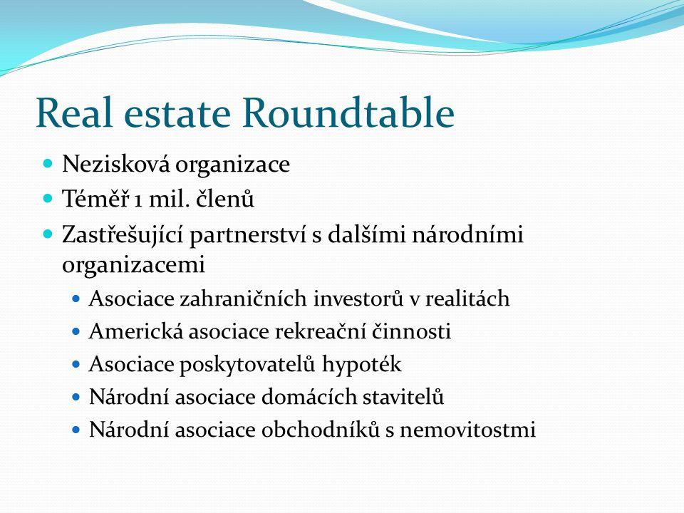 Real estate Roundtable Nezisková organizace Téměř 1 mil. členů Zastřešující partnerství s dalšími národními organizacemi Asociace zahraničních investo