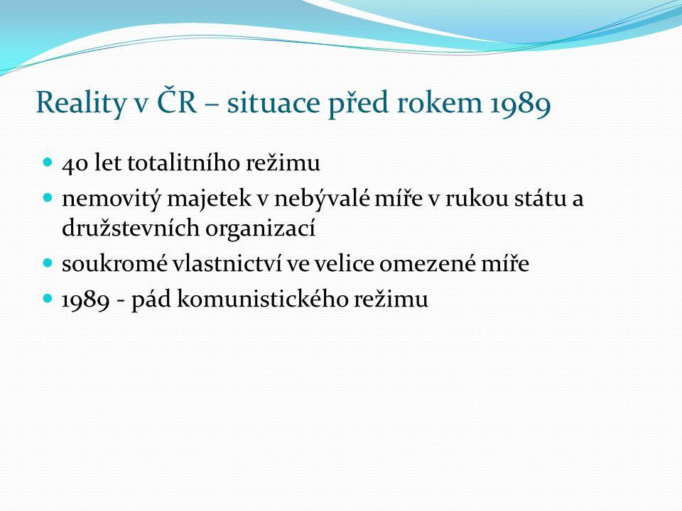 Reality v ČR – situace před rokem 1989 40 let totalitního režimu nemovitý majetek v nebývalé míře v rukou státu a družstevních organizací soukromé vla
