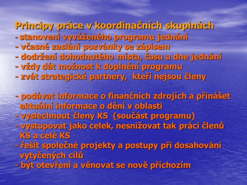 Principy práce v koordinačních skupinách - stanovení vyváženého programu jednání - včasné zaslání pozvánky se zápisem - dodržení dohodnutého místa, ča