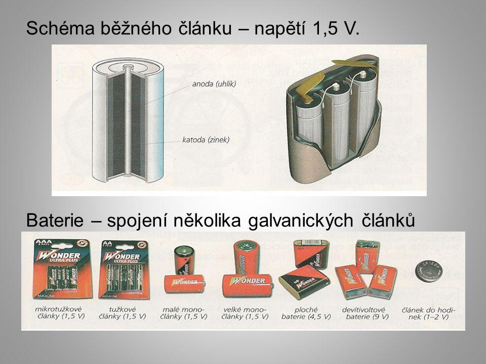 Schéma běžného článku – napětí 1,5 V. Baterie – spojení několika galvanických článků