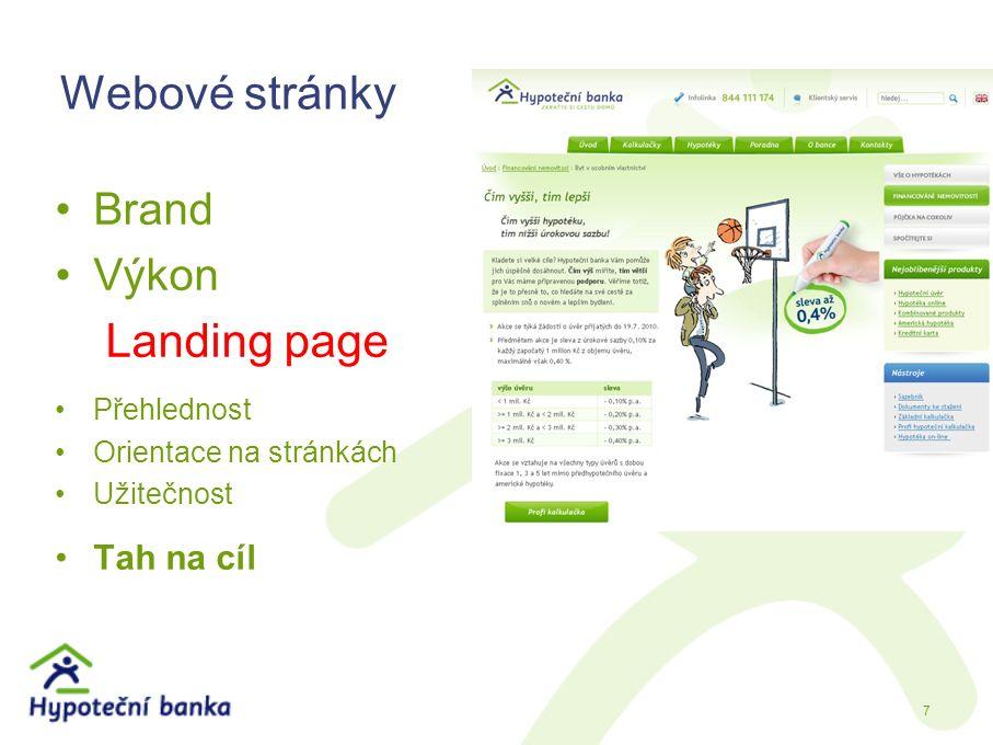 Webové stránky Brand Výkon Landing page Přehlednost Orientace na stránkách Užitečnost Tah na cíl 7