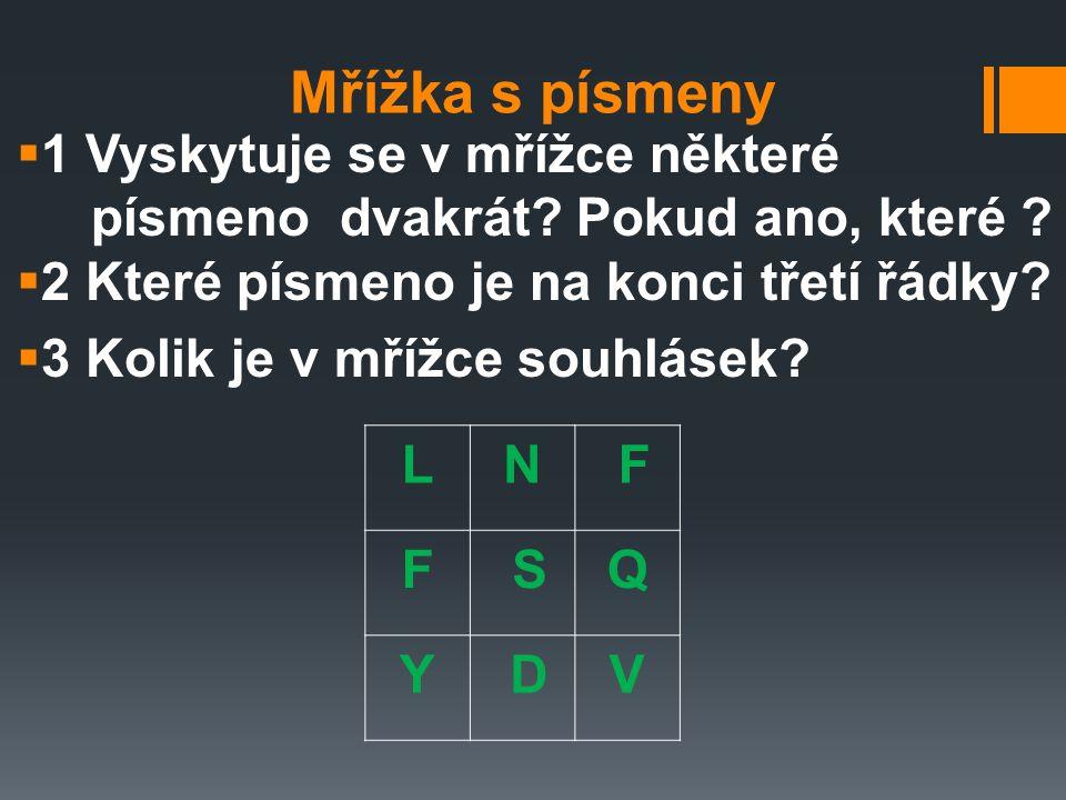 Mřížka s písmeny LN F F SQ Y DV  1 Vyskytuje se v mřížce některé písmeno dvakrát.