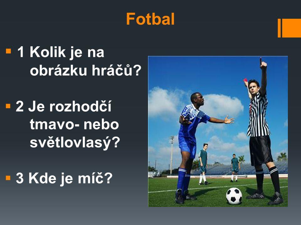 Fotbal  1 Kolik je na obrázku hráčů  2 Je rozhodčí tmavo- nebo světlovlasý  3 Kde je míč