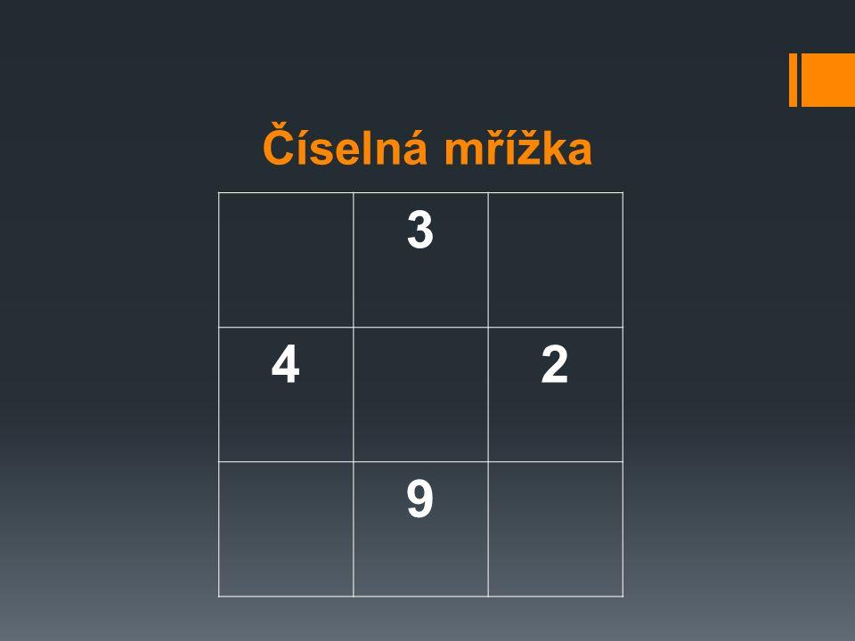 Mřížka s písmeny  4 Které písmeno je nad Q. 5 Vyskytuje se v mřížce písmeno C.