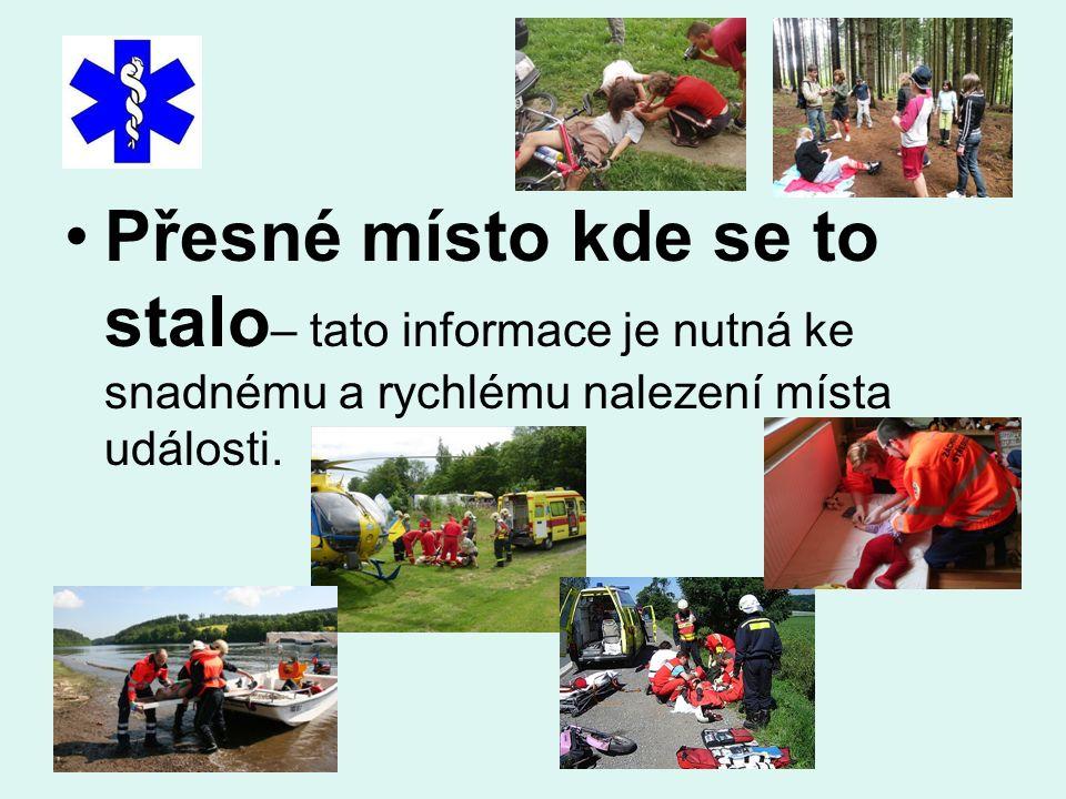 Informace o postiženém : jestli je to dítě, je to kluk nebo holka, je to dospělý, je to muž nebo žena, přibližný věk zraněného - nemocného, počet pora