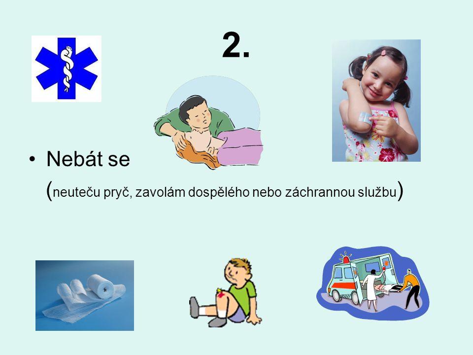 1. Zachovat klid ( protože když nás zachvátí panika, nejsme schopní udělat žádný rozumný čin, abychom mohli pomoci )