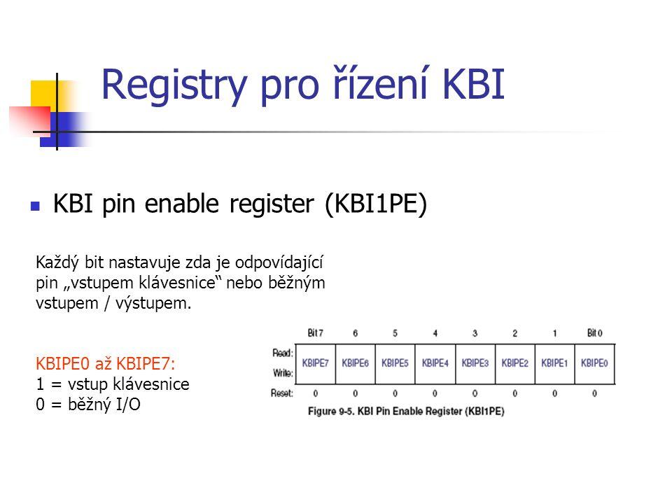 """Registry pro řízení KBI KBI pin enable register (KBI1PE) Každý bit nastavuje zda je odpovídající pin """"vstupem klávesnice nebo běžným vstupem / výstupem."""