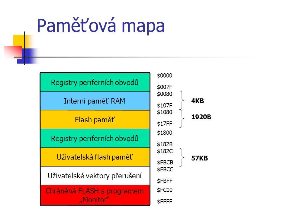 """Paměťová mapa Chráněná FLASH s programem """"Monitor Uživatelské vektory přerušení Uživatelská flash paměť Registry periferních obvodů Flash paměť Interní paměť RAM Registry periferních obvodů $0000 $007F $0080 $107F $1080 $17FF $1800 $182B $182C $FBCB $FBCC $FBFF $FC00 $FFFF 4KB 1920B 57KB"""