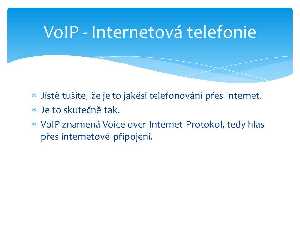  Jistě tušíte, že je to jakési telefonování přes Internet.