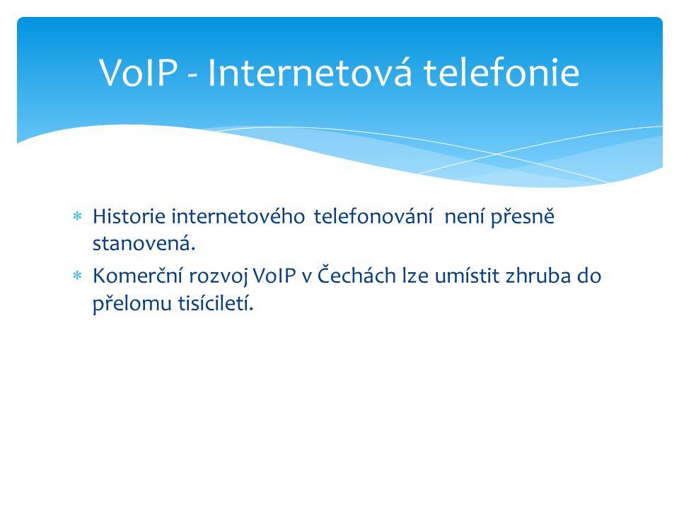  Historie internetového telefonování není přesně stanovená.