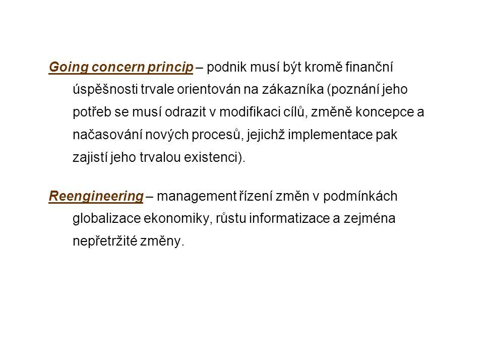 Going concern princip – podnik musí být kromě finanční úspěšnosti trvale orientován na zákazníka (poznání jeho potřeb se musí odrazit v modifikaci cílů, změně koncepce a načasování nových procesů, jejichž implementace pak zajistí jeho trvalou existenci).