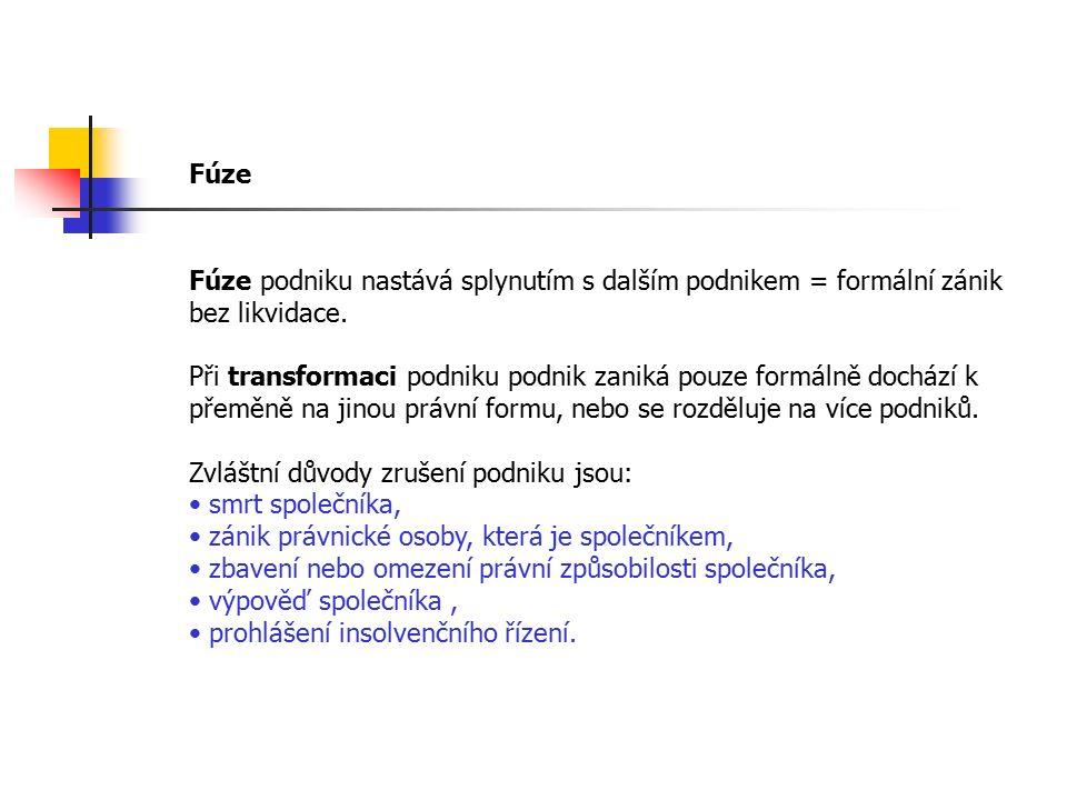 Fúze Fúze podniku nastává splynutím s dalším podnikem = formální zánik bez likvidace. Při transformaci podniku podnik zaniká pouze formálně dochází k