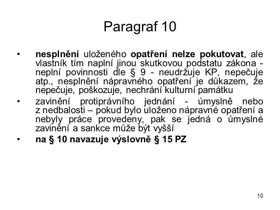 11 Paragraf 15 odst.1 Nařízení provedení nezbytných prací neprovedení prací dle § 10 odst.
