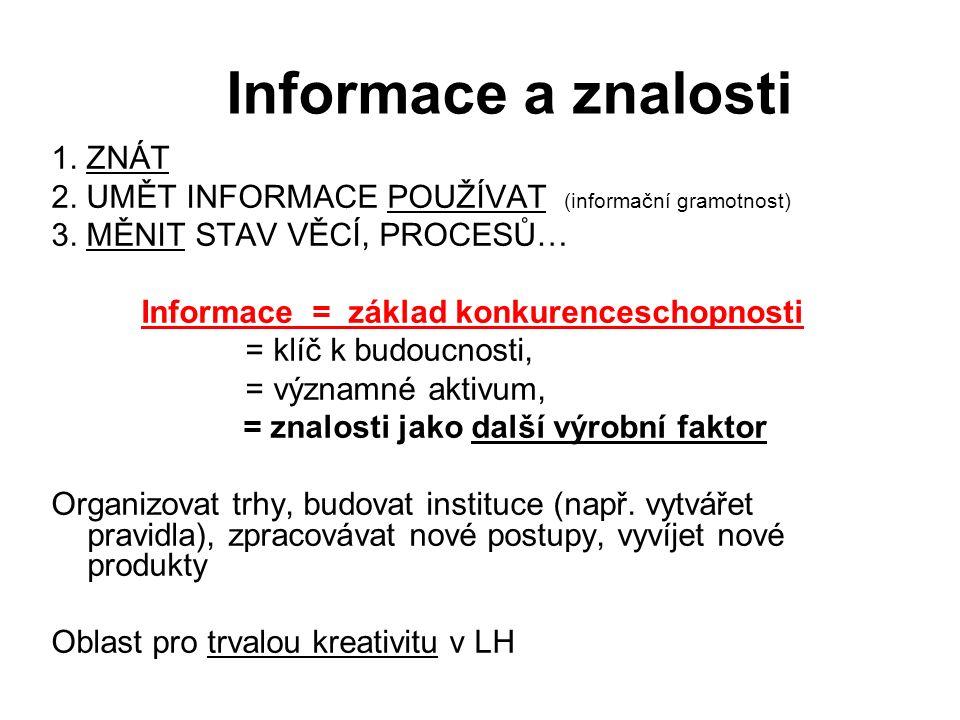 Informace a znalosti 1. ZNÁT 2. UMĚT INFORMACE POUŽÍVAT (informační gramotnost) 3.