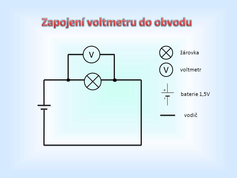 V V žárovka voltmetr baterie 1,5V vodič