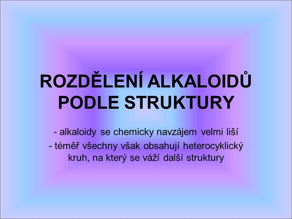 ROZDĚLENÍ ALKALOIDŮ PODLE STRUKTURY - alkaloidy se chemicky navzájem velmi liší - téměř všechny však obsahují heterocyklický kruh, na který se váží další struktury