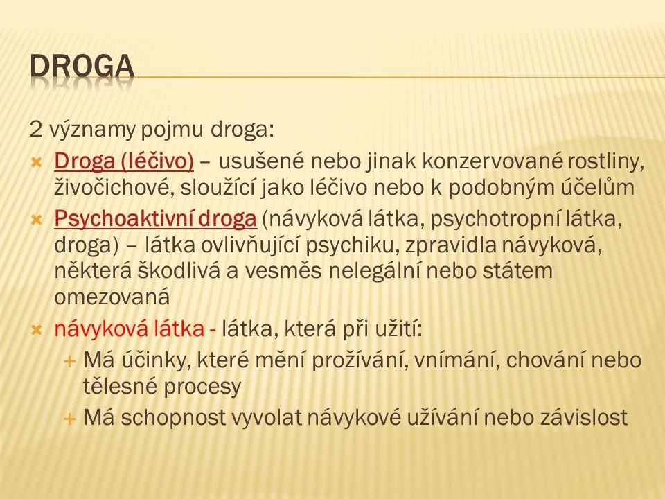 2 významy pojmu droga:  Droga (léčivo) – usušené nebo jinak konzervované rostliny, živočichové, sloužící jako léčivo nebo k podobným účelům Droga (léčivo)  Psychoaktivní droga (návyková látka, psychotropní látka, droga) – látka ovlivňující psychiku, zpravidla návyková, některá škodlivá a vesměs nelegální nebo státem omezovaná Psychoaktivní droga  návyková látka - látka, která při užití:  Má účinky, které mění prožívání, vnímání, chování nebo tělesné procesy  Má schopnost vyvolat návykové užívání nebo závislost