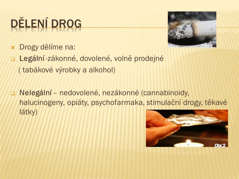  Drogy dělíme na:  Legální -zákonné, dovolené, volně prodejné ( tabákové výrobky a alkohol)  Nelegální – nedovolené, nezákonné (cannabinoidy, halucinogeny, opiáty, psychofarmaka, stimulační drogy, těkavé látky) Obr.2