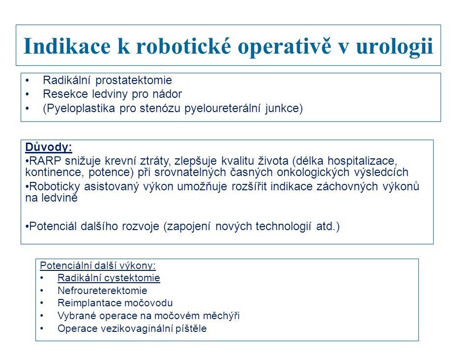 Indikace k robotické operativě v urologii Radikální prostatektomie Resekce ledviny pro nádor (Pyeloplastika pro stenózu pyeloureterální junkce) Důvody: RARP snižuje krevní ztráty, zlepšuje kvalitu života (délka hospitalizace, kontinence, potence) při srovnatelných časných onkologických výsledcích Roboticky asistovaný výkon umožňuje rozšířit indikace záchovných výkonů na ledvině Potenciál dalšího rozvoje (zapojení nových technologií atd.) Potenciální další výkony: Radikální cystektomie Nefroureterektomie Reimplantace močovodu Vybrané operace na močovém měchýři Operace vezikovaginální píštěle