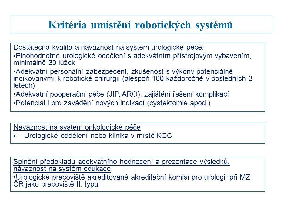 Kritéria umístění robotických systémů Dostatečná kvalita a návaznost na systém urologické péče: Plnohodnotné urologické oddělení s adekvátním přístrojovým vybavením, minimálně 30 lůžek Adekvátní personální zabezpečení, zkušenost s výkony potenciálně indikovanými k robotické chirurgii (alespoň 100 každoročně v posledních 3 letech) Adekvátní pooperační péče (JIP, ARO), zajištění řešení komplikací Potenciál i pro zavádění nových indikací (cystektomie apod.) Návaznost na systém onkologické péče Urologické oddělení nebo klinika v místě KOC Splnění předokladu adekvátního hodnocení a prezentace výsledků, návaznost na systém edukace Urologické pracoviště akreditované akreditační komisí pro urologii při MZ ČR jako pracoviště II.