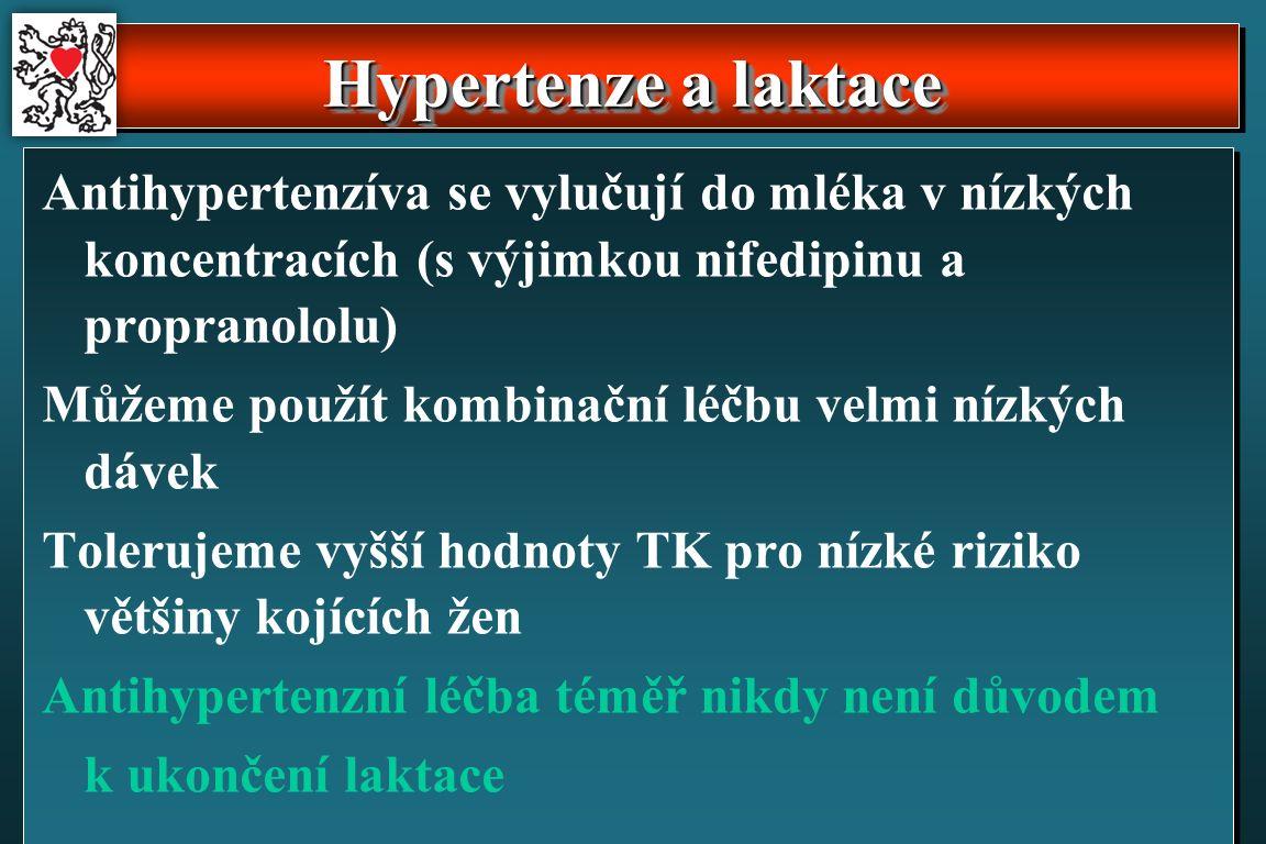 Antihypertenzíva se vylučují do mléka v nízkých koncentracích (s výjimkou nifedipinu a propranololu) Můžeme použít kombinační léčbu velmi nízkých dávek Tolerujeme vyšší hodnoty TK pro nízké riziko většiny kojících žen Antihypertenzní léčba téměř nikdy není důvodem k ukončení laktace Hypertenze a laktace