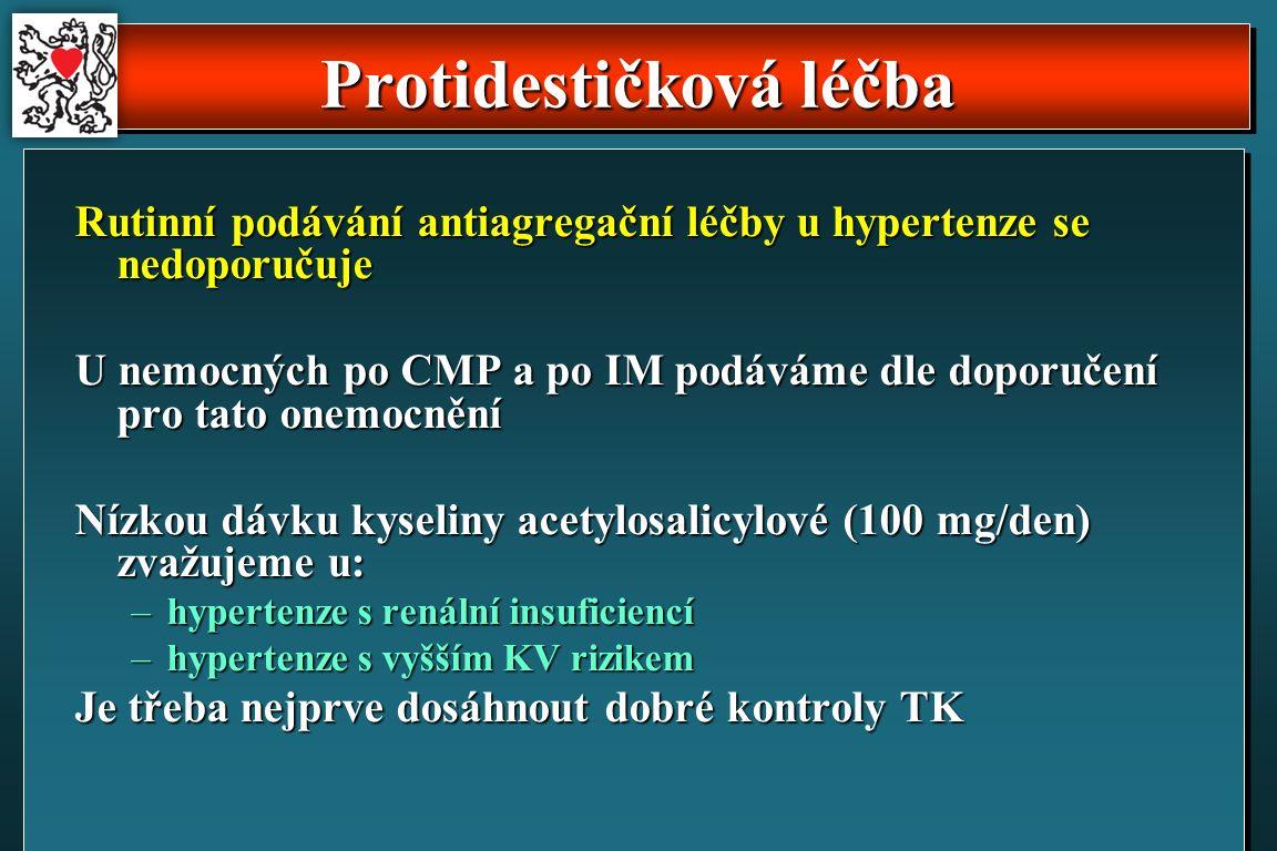 Protidestičková léčba Rutinní podávání antiagregační léčby u hypertenze se nedoporučuje U nemocných po CMP a po IM podáváme dle doporučení pro tato onemocnění Nízkou dávku kyseliny acetylosalicylové (100 mg/den) zvažujeme u: –hypertenze s renální insuficiencí –hypertenze s vyšším KV rizikem Je třeba nejprve dosáhnout dobré kontroly TK