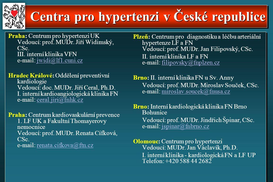 Centra pro hypertenzi v České republice Praha: Centrum pro hypertenzi UK Vedoucí: prof.