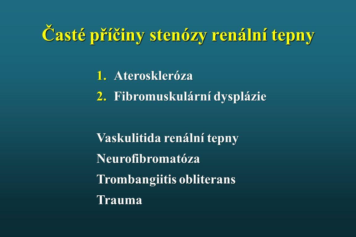 Časté příčiny stenózy renální tepny 1.Ateroskleróza 2.Fibromuskulární dysplázie Vaskulitida renální tepny Neurofibromatóza Trombangiitis obliterans Trauma