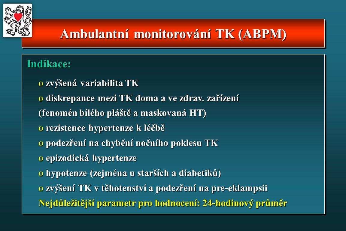 Ambulantní monitorování TK (ABPM) Indikace: Indikace: o zvýšená variabilita TK o diskrepance mezi TK doma a ve zdrav.