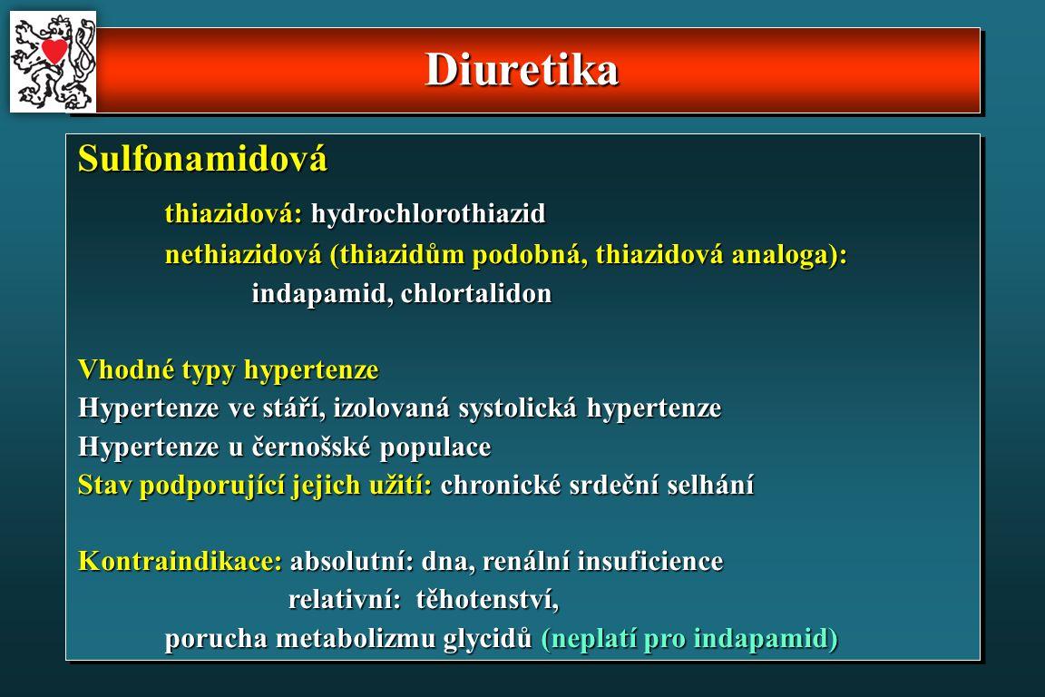DiuretikaDiuretika Sulfonamidová thiazidová: hydrochlorothiazid nethiazidová (thiazidům podobná, thiazidová analoga): indapamid, chlortalidon Vhodné typy hypertenze Hypertenze ve stáří, izolovaná systolická hypertenze Hypertenze u černošské populace Stav podporující jejich užití: chronické srdeční selhání Kontraindikace: absolutní: dna, renální insuficience relativní: těhotenství, relativní: těhotenství, porucha metabolizmu glycidů (neplatí pro indapamid)