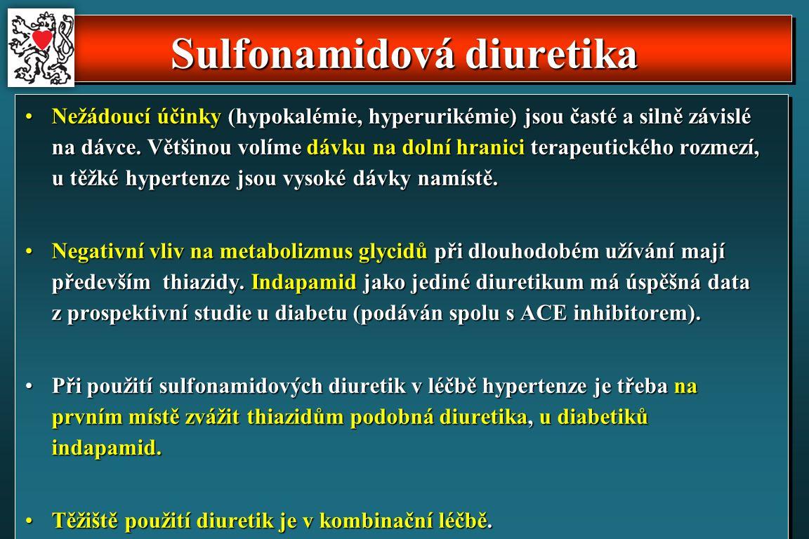 Sulfonamidová diuretika Nežádoucí účinky (hypokalémie, hyperurikémie) jsou časté a silně závislé na dávce.