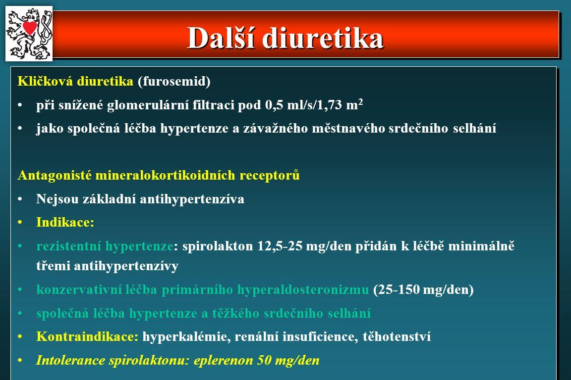 Další diuretika Kličková diuretika (furosemid) při snížené glomerulární filtraci pod 0,5 ml/s/1,73 m 2 jako společná léčba hypertenze a závažného městnavého srdečního selhání Antagonisté mineralokortikoidních receptorů Nejsou základní antihypertenzíva Indikace: rezistentní hypertenze: spirolakton 12,5-25 mg/den přidán k léčbě minimálně třemi antihypertenzívy konzervativní léčba primárního hyperaldosteronizmu (25-150 mg/den) společná léčba hypertenze a těžkého srdečního selhání Kontraindikace: hyperkalémie, renální insuficience, těhotenství Intolerance spirolaktonu: eplerenon 50 mg/den