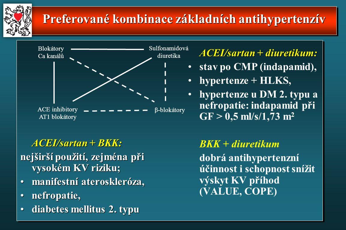 Preferované kombinace základních antihypertenzív ACEI/sartan + BKK: nejširší použití, zejména při vysokém KV riziku; manifestní ateroskleróza,manifestní ateroskleróza, nefropatie,nefropatie, diabetes mellitus 2.