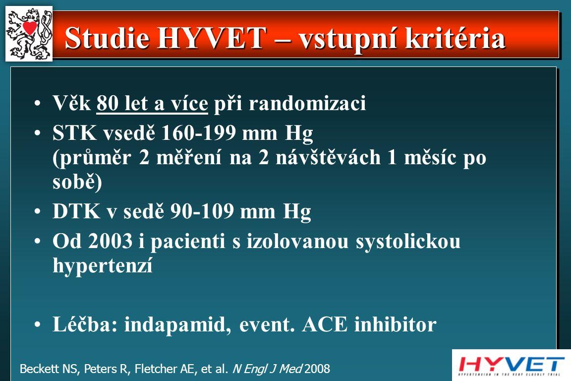 Studie HYVET – vstupní kritéria Věk 80 let a více při randomizaci STK vsedě 160-199 mm Hg (průměr 2 měření na 2 návštěvách 1 měsíc po sobě) DTK v sedě 90-109 mm Hg Od 2003 i pacienti s izolovanou systolickou hypertenzí Léčba: indapamid, event.