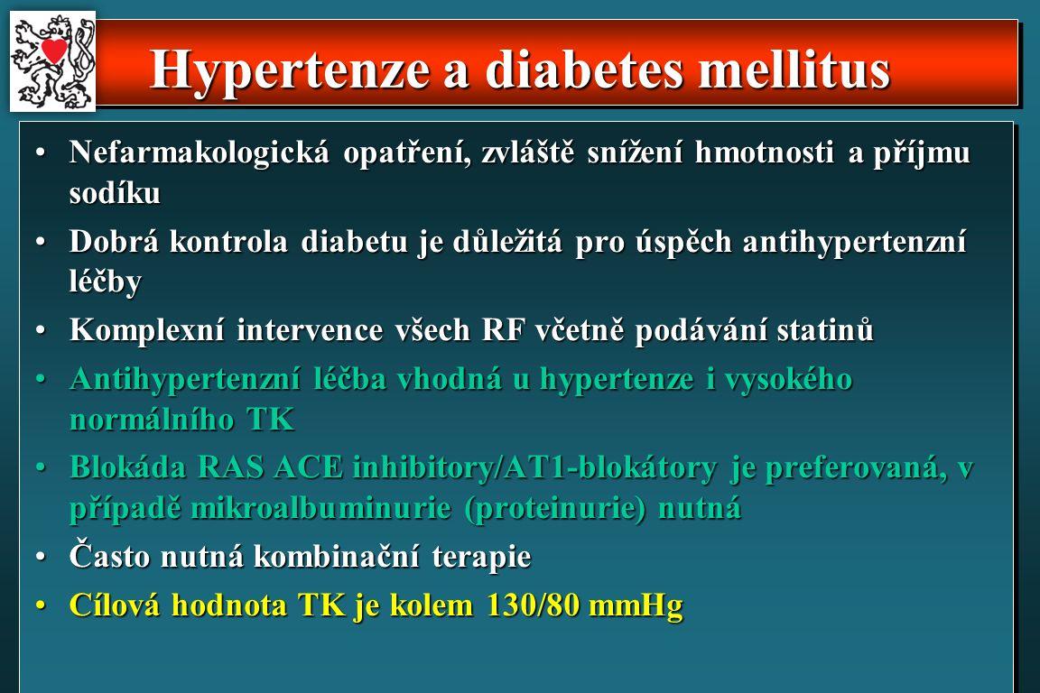 Hypertenze a diabetes mellitus Nefarmakologická opatření, zvláště snížení hmotnosti a příjmu sodíkuNefarmakologická opatření, zvláště snížení hmotnosti a příjmu sodíku Dobrá kontrola diabetu je důležitá pro úspěch antihypertenzní léčbyDobrá kontrola diabetu je důležitá pro úspěch antihypertenzní léčby Komplexní intervence všech RF včetně podávání statinůKomplexní intervence všech RF včetně podávání statinů Antihypertenzní léčba vhodná u hypertenze i vysokého normálního TKAntihypertenzní léčba vhodná u hypertenze i vysokého normálního TK Blokáda RAS ACE inhibitory/AT1-blokátory je preferovaná, v případě mikroalbuminurie (proteinurie) nutnáBlokáda RAS ACE inhibitory/AT1-blokátory je preferovaná, v případě mikroalbuminurie (proteinurie) nutná Často nutná kombinační terapieČasto nutná kombinační terapie Cílová hodnota TK je kolem 130/80 mmHgCílová hodnota TK je kolem 130/80 mmHg