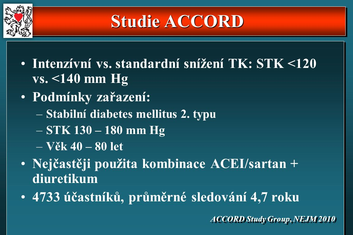 Studie ACCORD Intenzívní vs. standardní snížení TK: STK <120 vs.