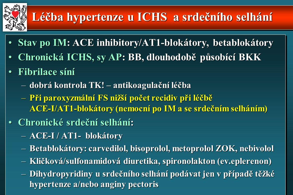 Léčba hypertenze u ICHS a srdečního selhání Stav po IM: ACE inhibitory/AT1-blokátory, betablokátoryStav po IM: ACE inhibitory/AT1-blokátory, betablokátory Chronická ICHS, sy AP: BB, dlouhodobě působící BKKChronická ICHS, sy AP: BB, dlouhodobě působící BKK Fibrilace síníFibrilace síní –dobrá kontrola TK.