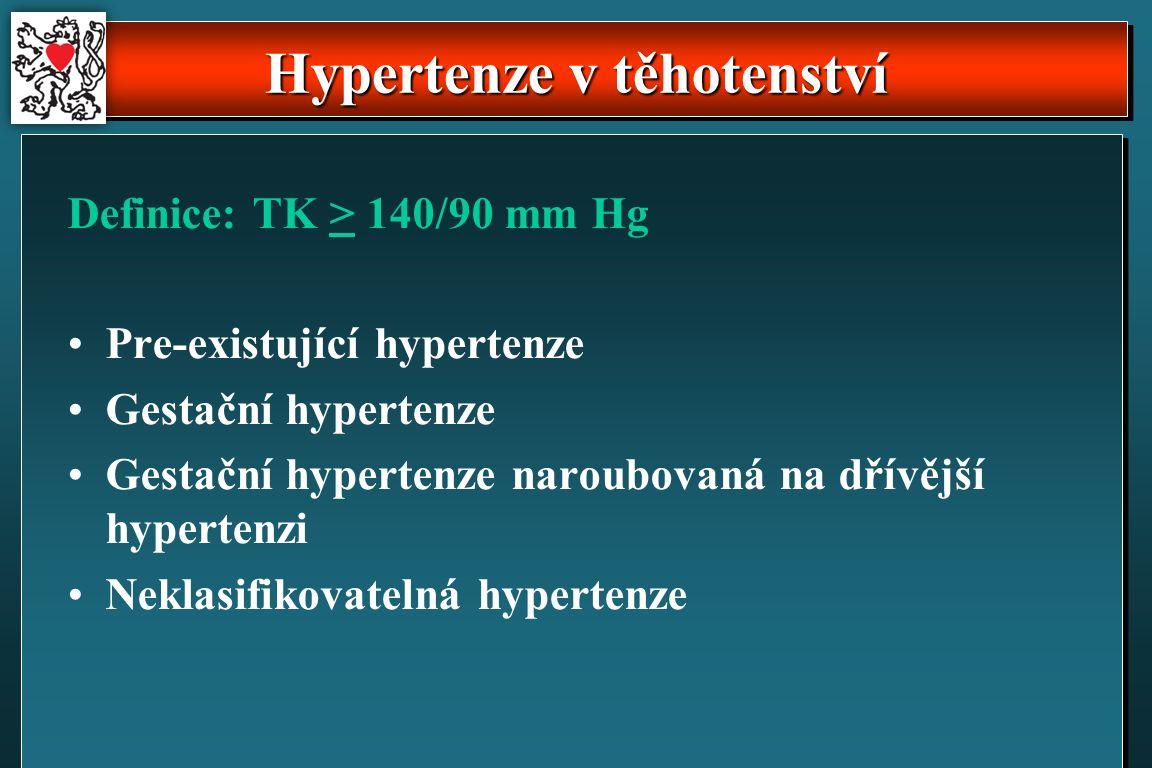 Hypertenze v těhotenství Definice: TK > 140/90 mm Hg Pre-existující hypertenze Gestační hypertenze Gestační hypertenze naroubovaná na dřívější hypertenzi Neklasifikovatelná hypertenze