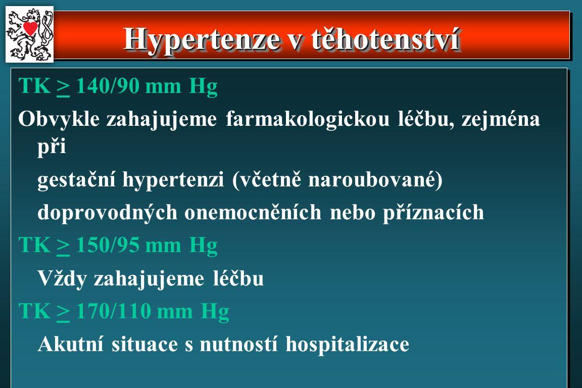 TK > 140/90 mm Hg Obvykle zahajujeme farmakologickou léčbu, zejména při gestační hypertenzi (včetně naroubované) doprovodných onemocněních nebo příznacích TK > 150/95 mm Hg Vždy zahajujeme léčbu TK > 170/110 mm Hg Akutní situace s nutností hospitalizace Hypertenze v těhotenství