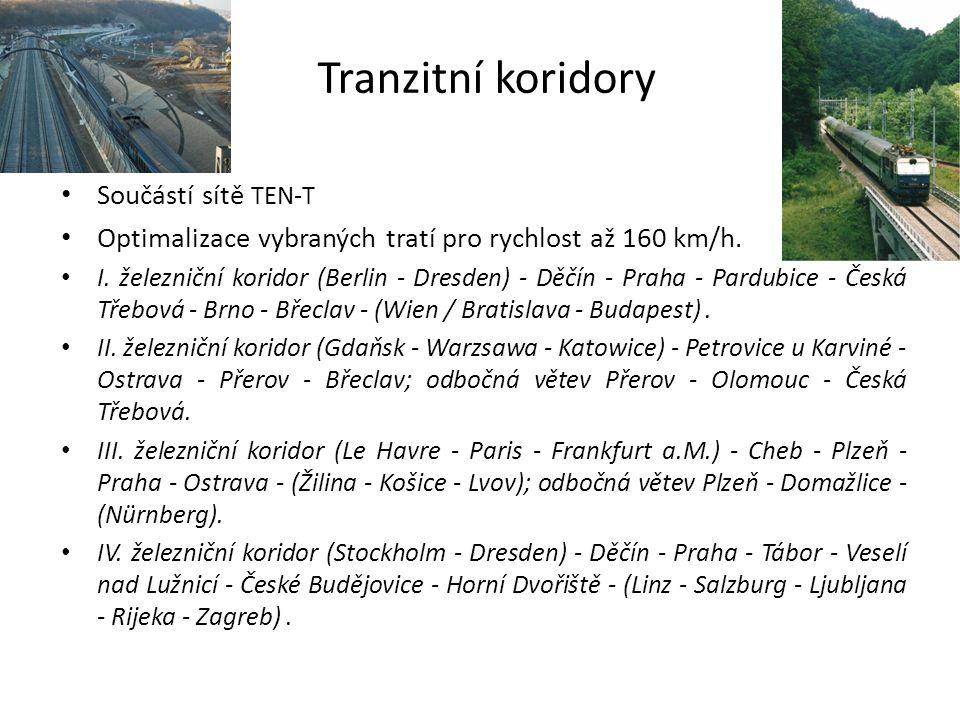 Tranzitní koridory Součástí sítě TEN-T Optimalizace vybraných tratí pro rychlost až 160 km/h. I. železniční koridor (Berlin - Dresden) - Děčín - Praha
