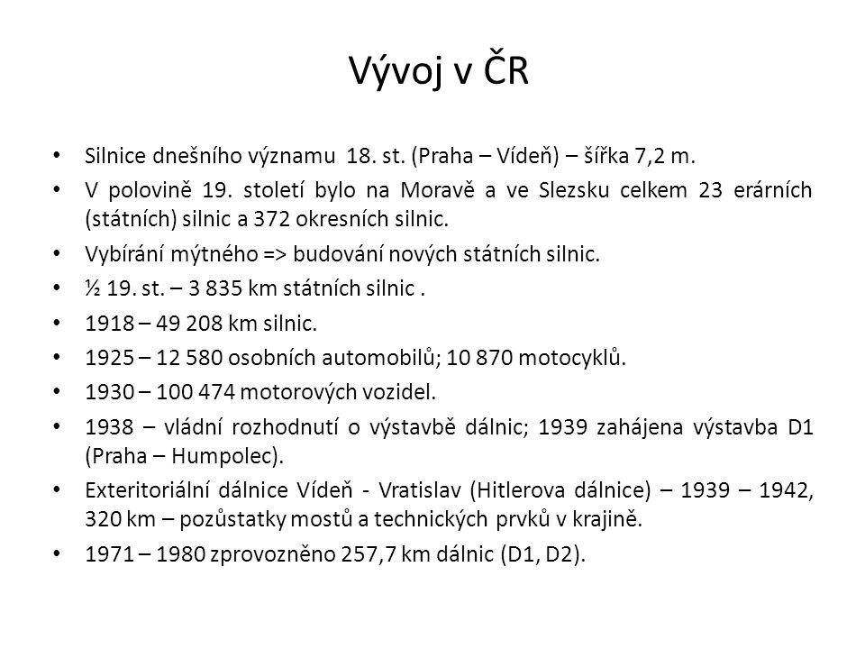 Vývoj v ČR Silnice dnešního významu 18. st. (Praha – Vídeň) – šířka 7,2 m. V polovině 19. století bylo na Moravě a ve Slezsku celkem 23 erárních (stát