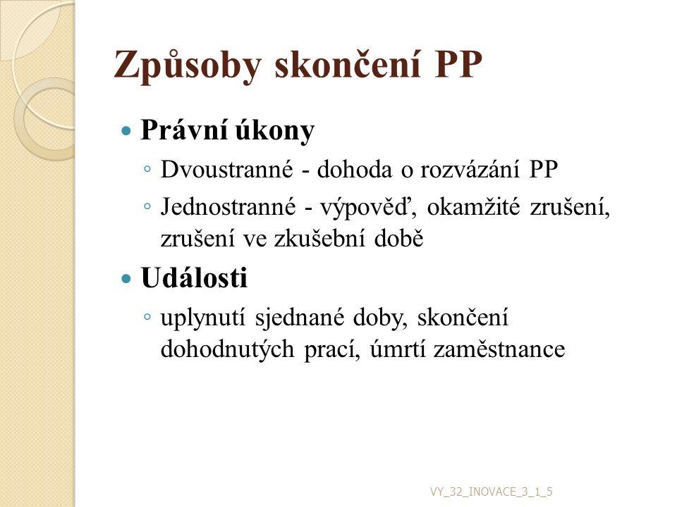 Způsoby skončení PP Právní úkony ◦ Dvoustranné - dohoda o rozvázání PP ◦ Jednostranné - výpověď, okamžité zrušení, zrušení ve zkušební době Události ◦ uplynutí sjednané doby, skončení dohodnutých prací, úmrtí zaměstnance VY_32_INOVACE_3_1_5