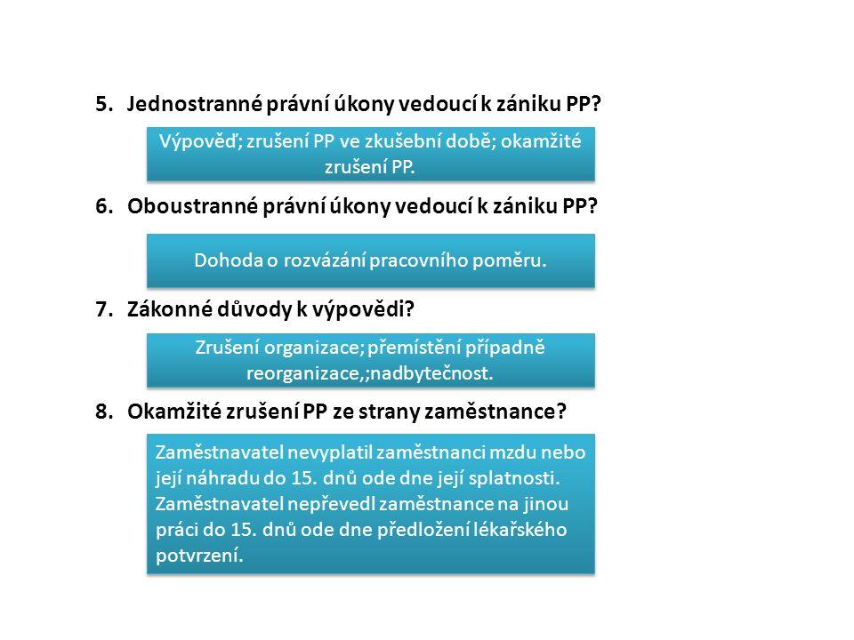 5.Jednostranné právní úkony vedoucí k zániku PP. 6.Oboustranné právní úkony vedoucí k zániku PP.