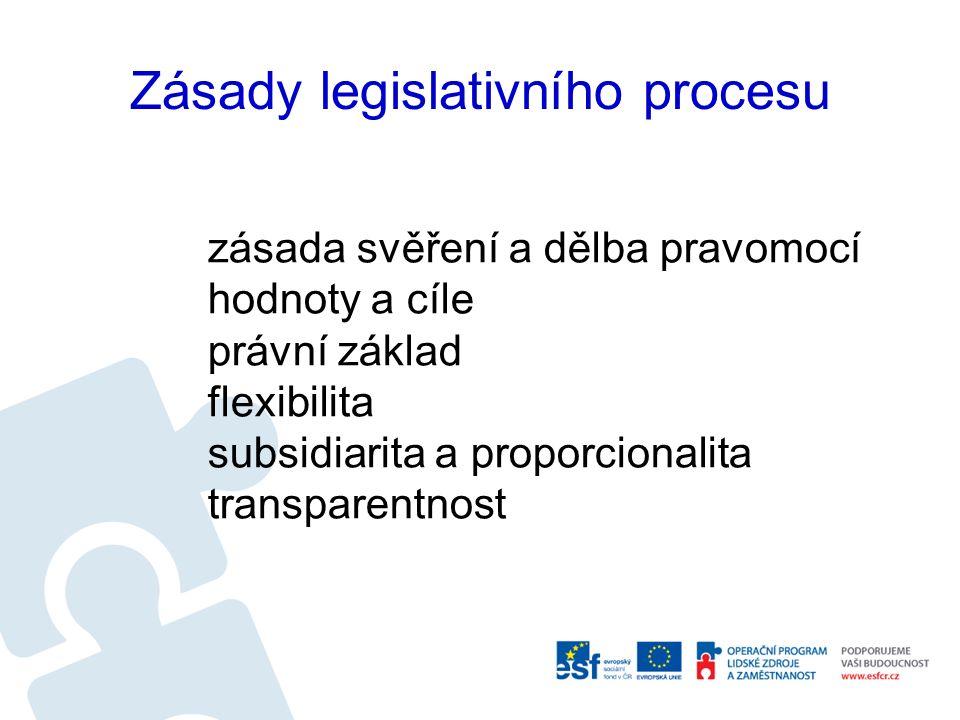 Zásady legislativního procesu zásada svěření a dělba pravomocí hodnoty a cíle právní základ flexibilita subsidiarita a proporcionalita transparentnost
