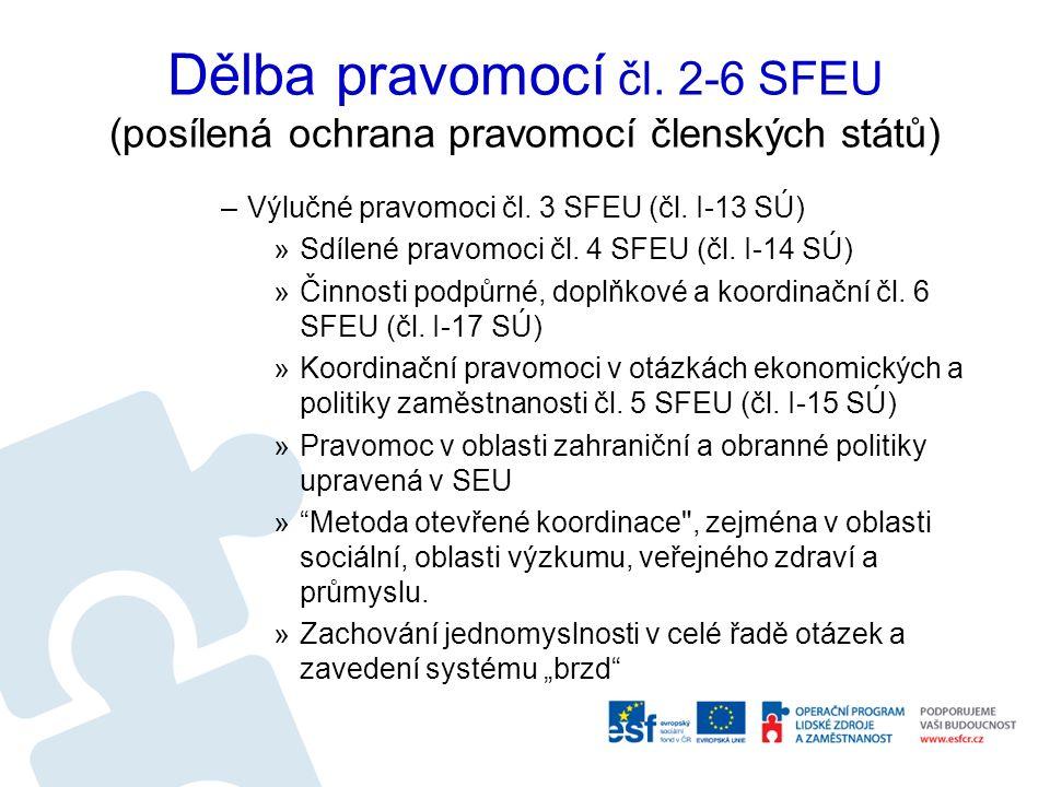Dělba pravomocí čl. 2-6 SFEU (posílená ochrana pravomocí členských států) –Výlučné pravomoci čl. 3 SFEU (čl. I-13 SÚ) »Sdílené pravomoci čl. 4 SFEU (č