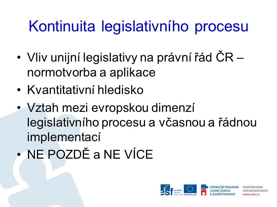 Kontinuita legislativního procesu Vliv unijní legislativy na právní řád ČR – normotvorba a aplikace Kvantitativní hledisko Vztah mezi evropskou dimenzí legislativního procesu a včasnou a řádnou implementací NE POZDĚ a NE VÍCE