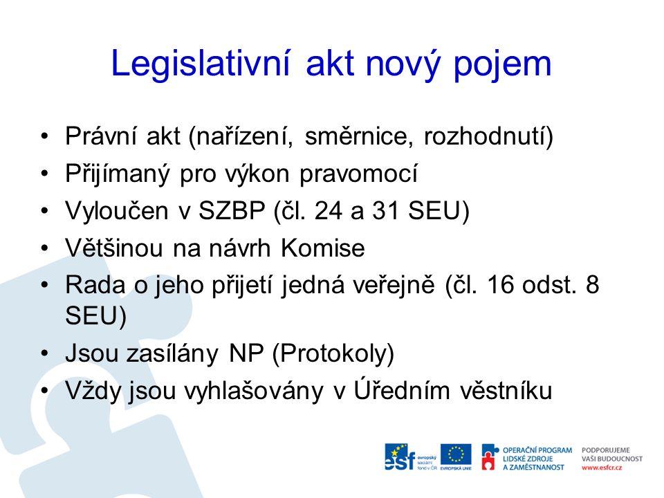 Legislativní akt nový pojem Právní akt (nařízení, směrnice, rozhodnutí) Přijímaný pro výkon pravomocí Vyloučen v SZBP (čl. 24 a 31 SEU) Většinou na ná