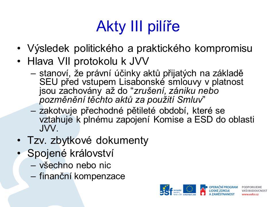 Akty III pilíře Výsledek politického a praktického kompromisu Hlava VII protokolu k JVV –stanoví, že právní účinky aktů přijatých na základě SEU před vstupem Lisabonské smlouvy v platnost jsou zachovány až do zrušení, zániku nebo pozměnění těchto aktů za použití Smluv –zakotvuje přechodné pětileté období, které se vztahuje k plnému zapojení Komise a ESD do oblasti JVV.