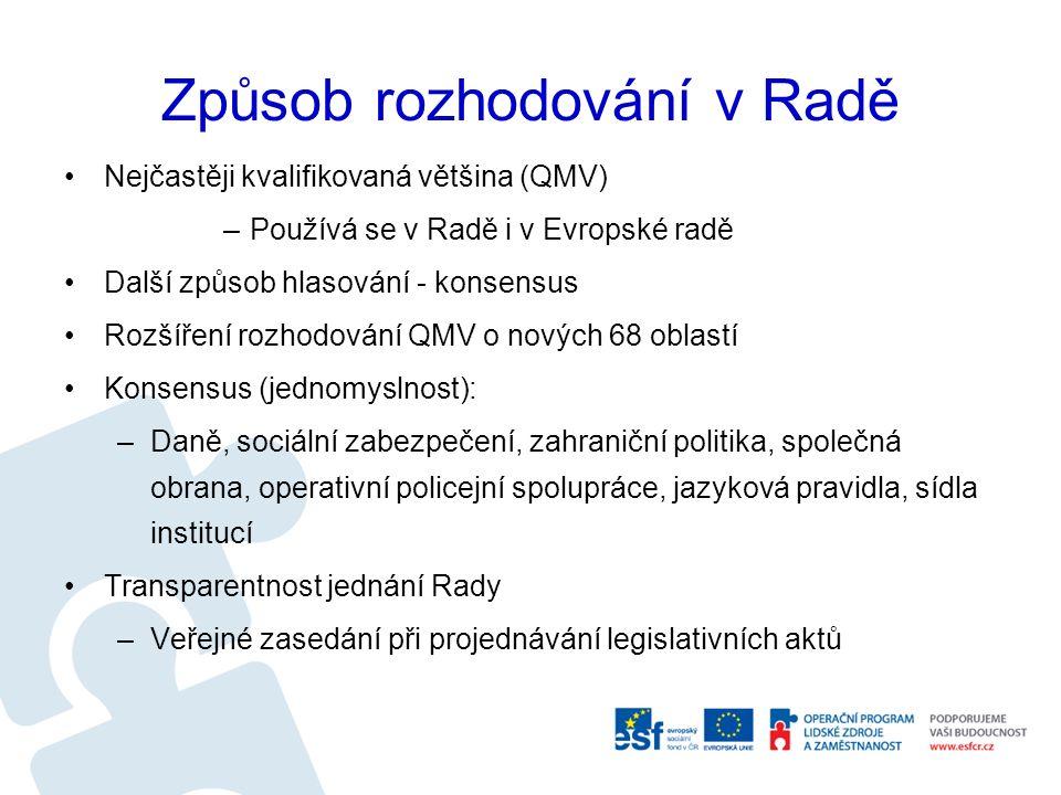 Způsob rozhodování v Radě Nejčastěji kvalifikovaná většina (QMV) –Používá se v Radě i v Evropské radě Další způsob hlasování - konsensus Rozšíření rozhodování QMV o nových 68 oblastí Konsensus (jednomyslnost): –Daně, sociální zabezpečení, zahraniční politika, společná obrana, operativní policejní spolupráce, jazyková pravidla, sídla institucí Transparentnost jednání Rady –Veřejné zasedání při projednávání legislativních aktů